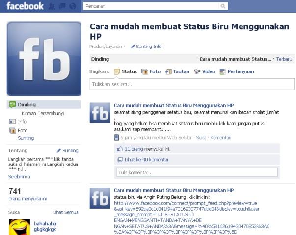 Lengkap Cara Membuat Status Biru Di Facebook Via Kirim yang Unik ...